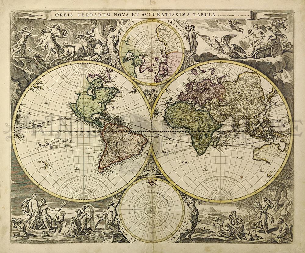 Prints old rare world maps antique maps prints 1658 niolao visscher auctore orbis terrarum nova et accuratissima amsterdam after 1658 copper engraved double hemisphere world map hand colored gumiabroncs Gallery