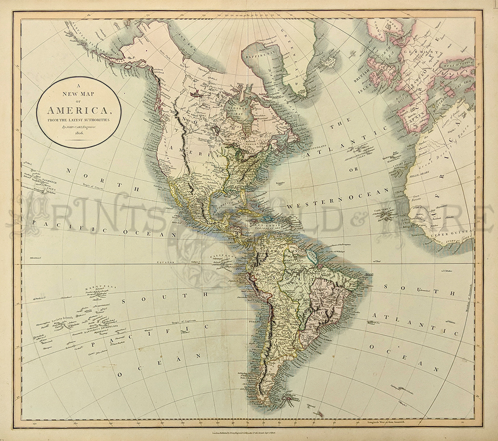 Prints old rare world maps antique maps prints 1806 john cary a new map of america from the latest authorities published by j cary engraver and map seller london lovely water colored copperplate gumiabroncs Image collections