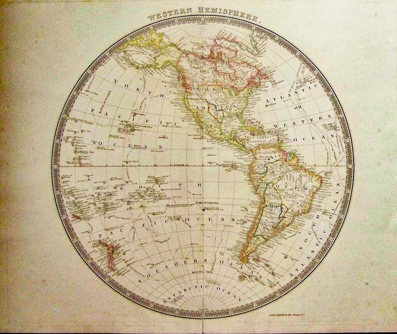Prints old rare world maps antique maps prints western hemisphere with the republic of texas tesdale 1842 a nicely engraved british hemispheric map with original color shows the continents with a gumiabroncs Images