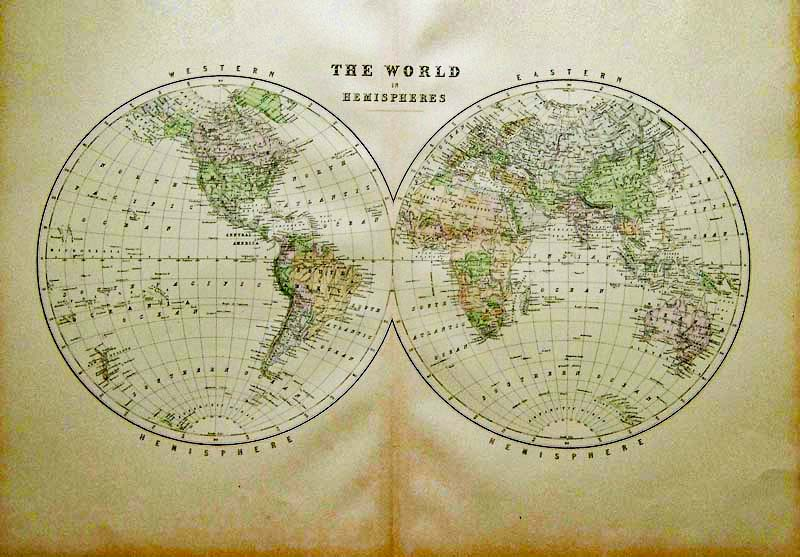 Prints old rare world maps antique maps prints world hemisphere map original hand color 26x19 120 check for availability gumiabroncs Image collections